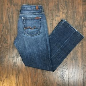 7 For All Mankind Distressed Boot Cut Jeans. 33